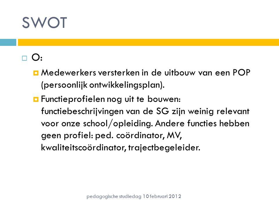 SWOT  O:  Medewerkers versterken in de uitbouw van een POP (persoonlijk ontwikkelingsplan).  Functieprofielen nog uit te bouwen: functiebeschrijvin