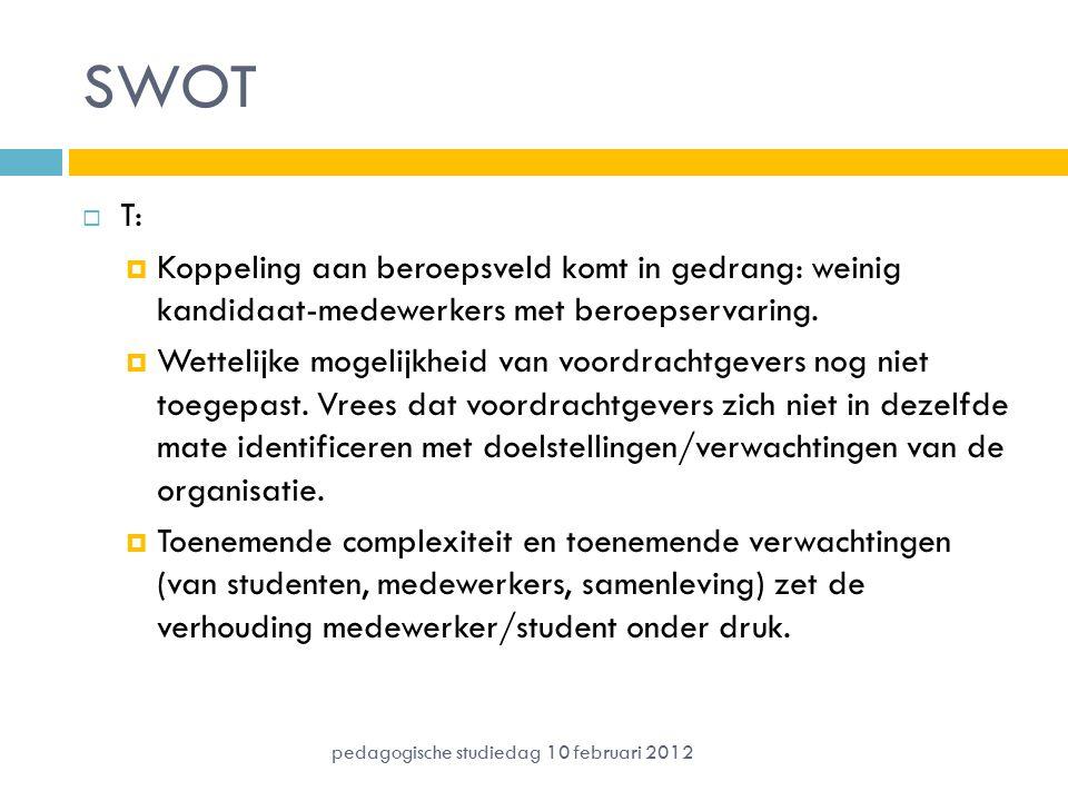 SWOT  T:  Koppeling aan beroepsveld komt in gedrang: weinig kandidaat-medewerkers met beroepservaring.  Wettelijke mogelijkheid van voordrachtgever