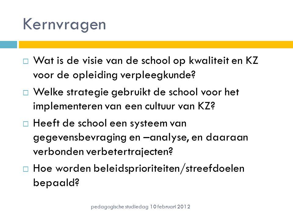 Kernvragen  Wat is de visie van de school op kwaliteit en KZ voor de opleiding verpleegkunde.