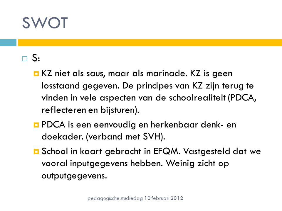 SWOT  S:  KZ niet als saus, maar als marinade. KZ is geen losstaand gegeven. De principes van KZ zijn terug te vinden in vele aspecten van de school