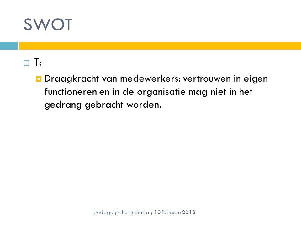 SWOT  T:  Draagkracht van medewerkers: vertrouwen in eigen functioneren en in de organisatie mag niet in het gedrang gebracht worden. pedagogische s