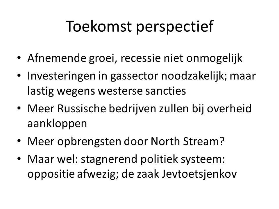 Toekomst perspectief Afnemende groei, recessie niet onmogelijk Investeringen in gassector noodzakelijk; maar lastig wegens westerse sancties Meer Russische bedrijven zullen bij overheid aankloppen Meer opbrengsten door North Stream.
