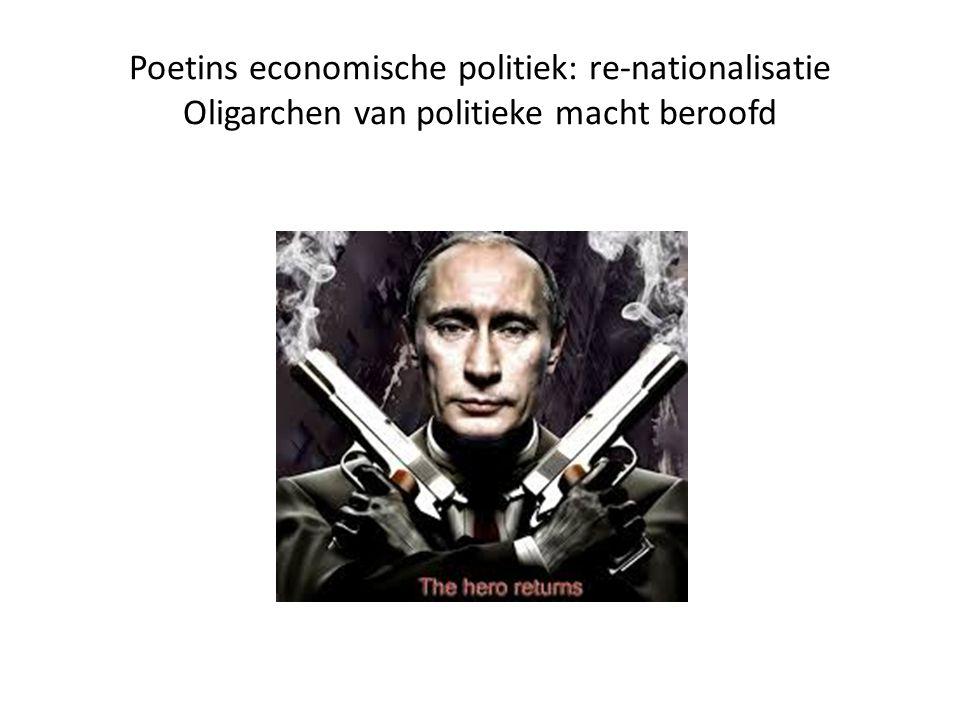 Poetins economische politiek: re-nationalisatie Oligarchen van politieke macht beroofd
