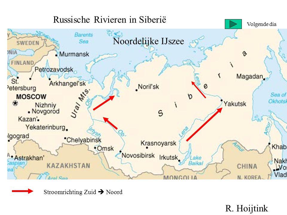 Russische Rivieren in Siberië Stroomrichting Zuid  Noord Noordelijke IJszee R. Hoijtink Volgende dia