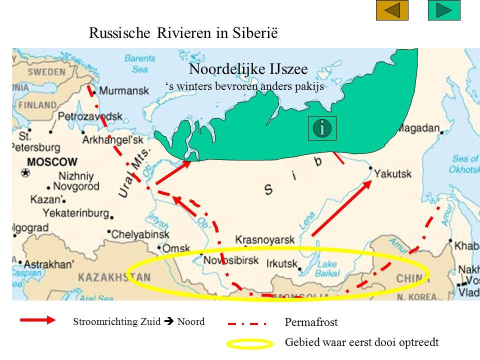 Russische Rivieren in Siberië Stroomrichting Zuid  Noord Noordelijke IJszee Permafrost Gebied waar eerst dooi optreedt 's winters bevroren anders pak