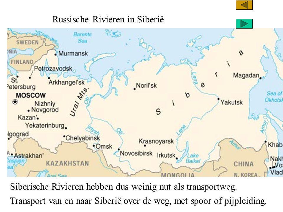 Russische Rivieren in Siberië Aardgasveld Aardolieveld Richting van de pijpleidingen Transsiberische spoorlijn autoweg