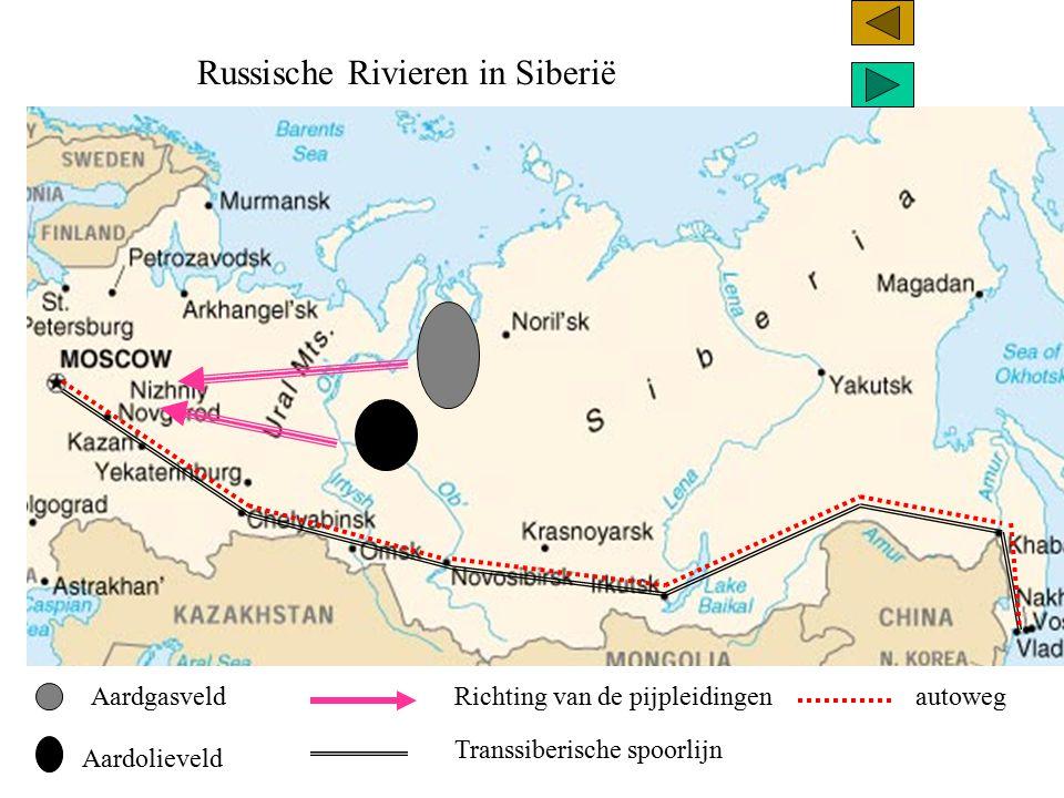 Russische Rivieren in Siberië De spoor en wegverbindingen zijn vooral door het zuiden aangelegd.