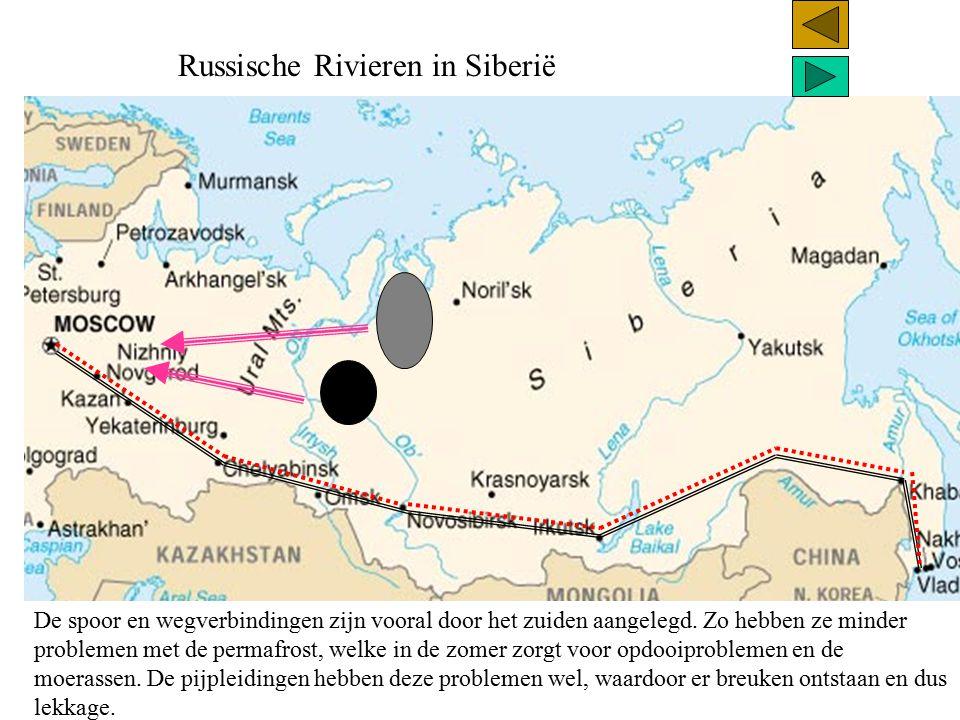 Russische Rivieren in Siberië De spoor en wegverbindingen zijn vooral door het zuiden aangelegd. Zo hebben ze minder problemen met de permafrost, welk