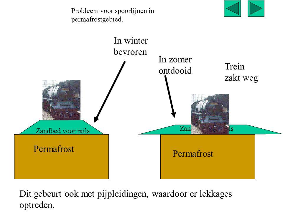 Permafrost Zandbed voor rails In winter bevroren Permafrost Zandbed voor rails In zomer ontdooid Trein zakt weg Probleem voor spoorlijnen in permafros