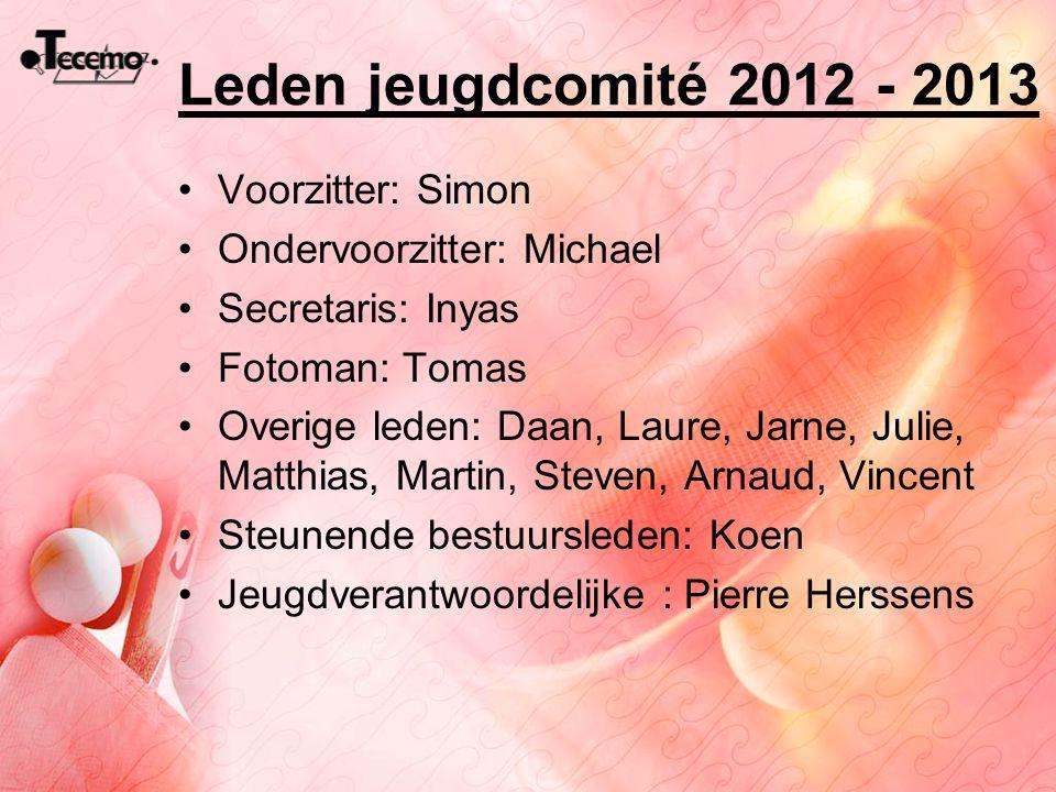 Leden jeugdcomité 2012 - 2013 Voorzitter: Simon Ondervoorzitter: Michael Secretaris: Inyas Fotoman: Tomas Overige leden: Daan, Laure, Jarne, Julie, Ma