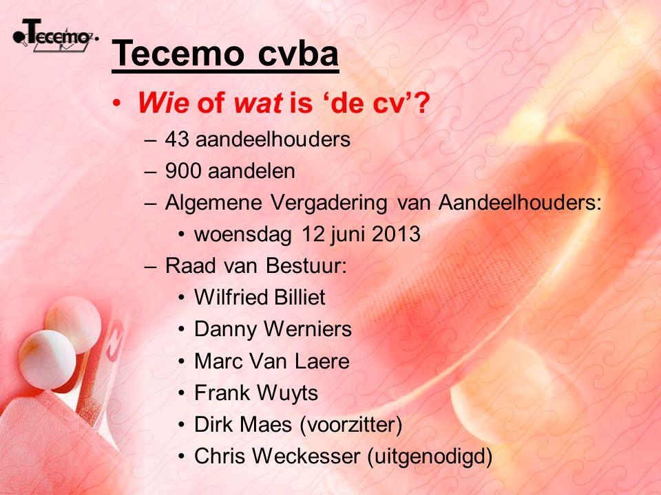 Tecemo cvba Wie of wat is 'de cv'? –43 aandeelhouders –900 aandelen –Algemene Vergadering van Aandeelhouders: woensdag 12 juni 2013 –Raad van Bestuur: