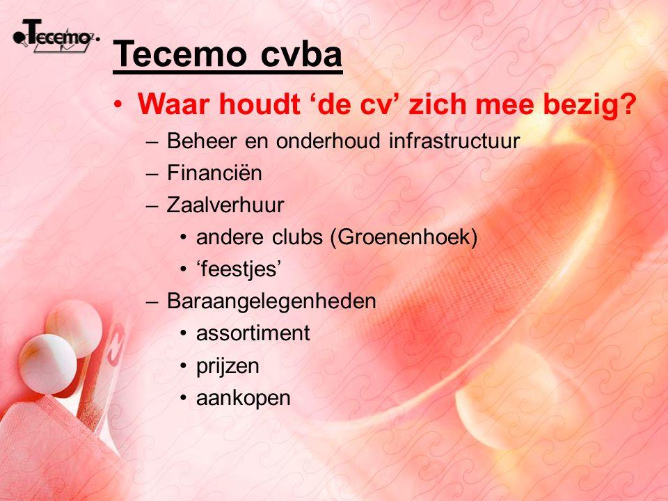 Tecemo cvba Waar houdt 'de cv' zich mee bezig? –Beheer en onderhoud infrastructuur –Financiën –Zaalverhuur andere clubs (Groenenhoek) 'feestjes' –Bara