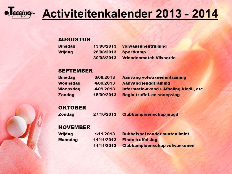Activiteitenkalender 2013 - 2014 AUGUSTUS Dinsdag13/08/2013volwassenentraining Vrijdag26/08/2013Sportkamp 30/08/2013Vriendenmatch Vilvoorde SEPTEMBER
