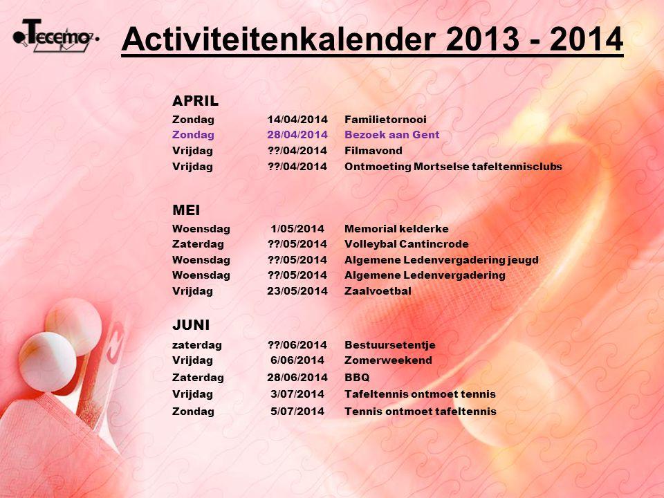 APRIL Zondag14/04/2014Familietornooi Zondag28/04/2014Bezoek aan Gent Vrijdag??/04/2014Filmavond Vrijdag??/04/2014Ontmoeting Mortselse tafeltennisclubs