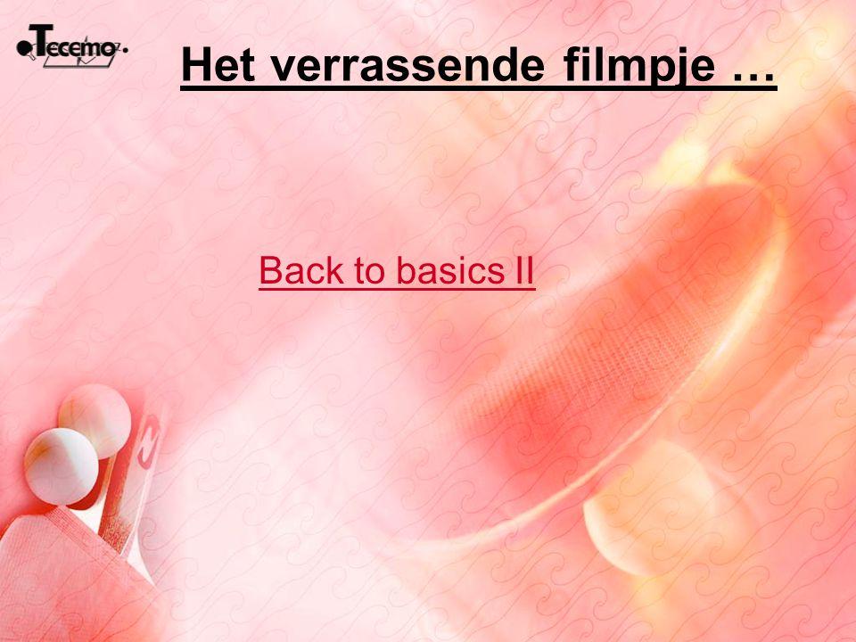 Het verrassende filmpje … Back to basics II