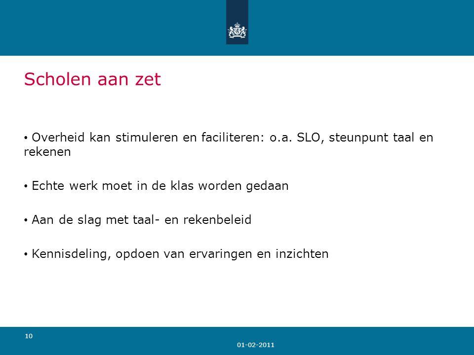 01-02-2011 10 Scholen aan zet Overheid kan stimuleren en faciliteren: o.a.