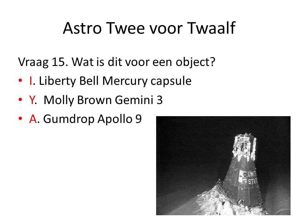 Astro Twee voor Twaalf Vraag 15. Wat is dit voor een object? I. Liberty Bell Mercury capsule Y. Molly Brown Gemini 3 A. Gumdrop Apollo 9