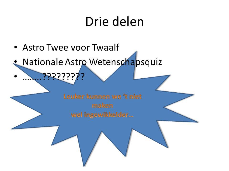 Drie delen Astro Twee voor Twaalf Nationale Astro Wetenschapsquiz ……..?????????