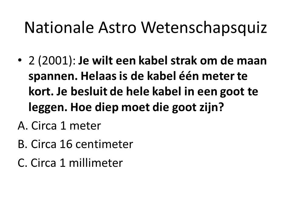 Nationale Astro Wetenschapsquiz 2 (2001): Je wilt een kabel strak om de maan spannen. Helaas is de kabel één meter te kort. Je besluit de hele kabel i