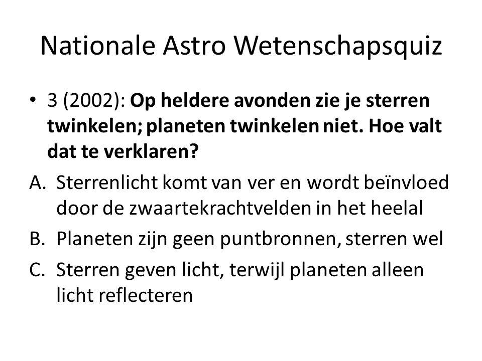 Nationale Astro Wetenschapsquiz 3 (2002): Op heldere avonden zie je sterren twinkelen; planeten twinkelen niet. Hoe valt dat te verklaren? A.Sterrenli