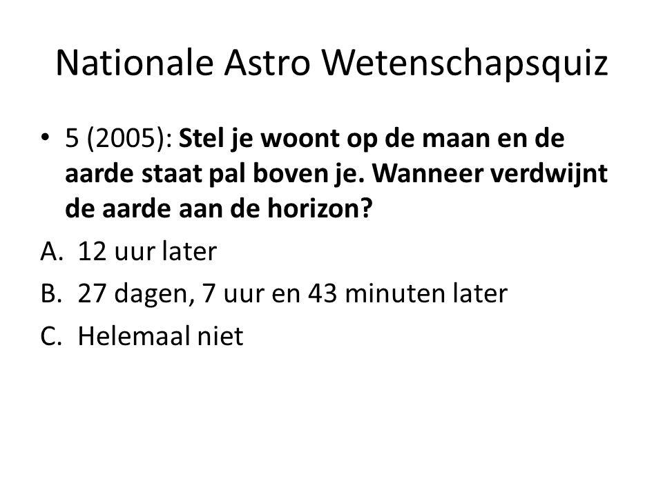 Nationale Astro Wetenschapsquiz 5 (2005): Stel je woont op de maan en de aarde staat pal boven je. Wanneer verdwijnt de aarde aan de horizon? A.12 uur