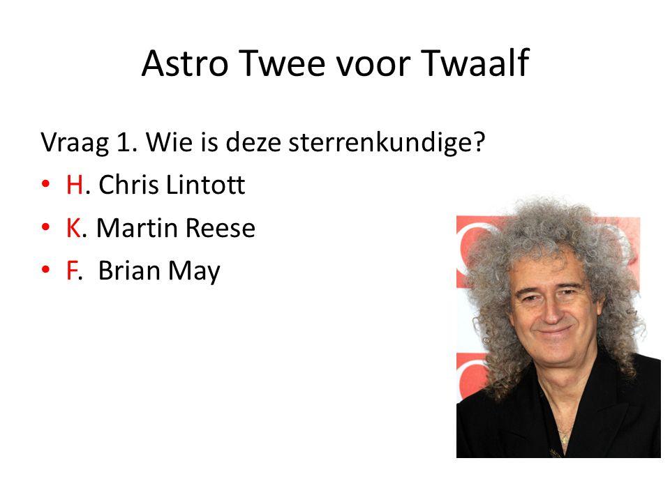 Astro Twee voor Twaalf Vraag 1. Wie is deze sterrenkundige? H. Chris Lintott K. Martin Reese F. Brian May