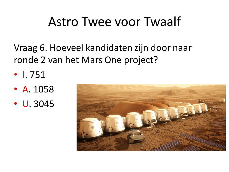 Astro Twee voor Twaalf Vraag 6. Hoeveel kandidaten zijn door naar ronde 2 van het Mars One project? I. 751 A. 1058 U. 3045