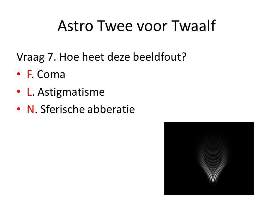 Astro Twee voor Twaalf Vraag 7. Hoe heet deze beeldfout? F. Coma L. Astigmatisme N. Sferische abberatie