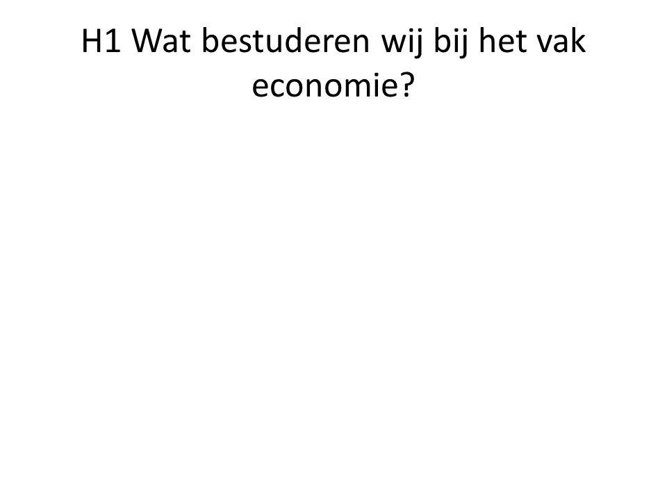 H1 Wat bestuderen wij bij het vak economie?