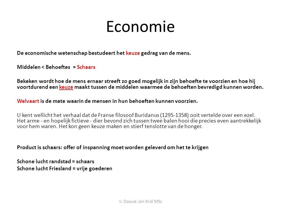 Economie De economische wetenschap bestudeert het keuze gedrag van de mens. Middelen < Behoeftes = Schaars Bekeken wordt hoe de mens ernaar streeft zo
