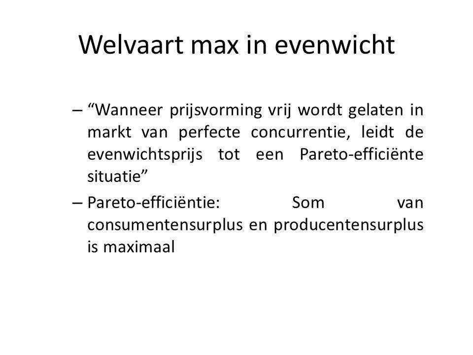 """Welvaart max in evenwicht – """"Wanneer prijsvorming vrij wordt gelaten in markt van perfecte concurrentie, leidt de evenwichtsprijs tot een Pareto-effic"""