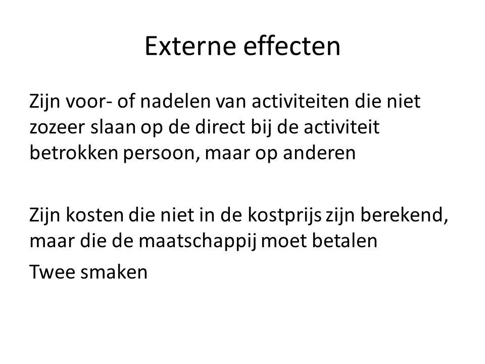 Externe effecten Zijn voor- of nadelen van activiteiten die niet zozeer slaan op de direct bij de activiteit betrokken persoon, maar op anderen Zijn k