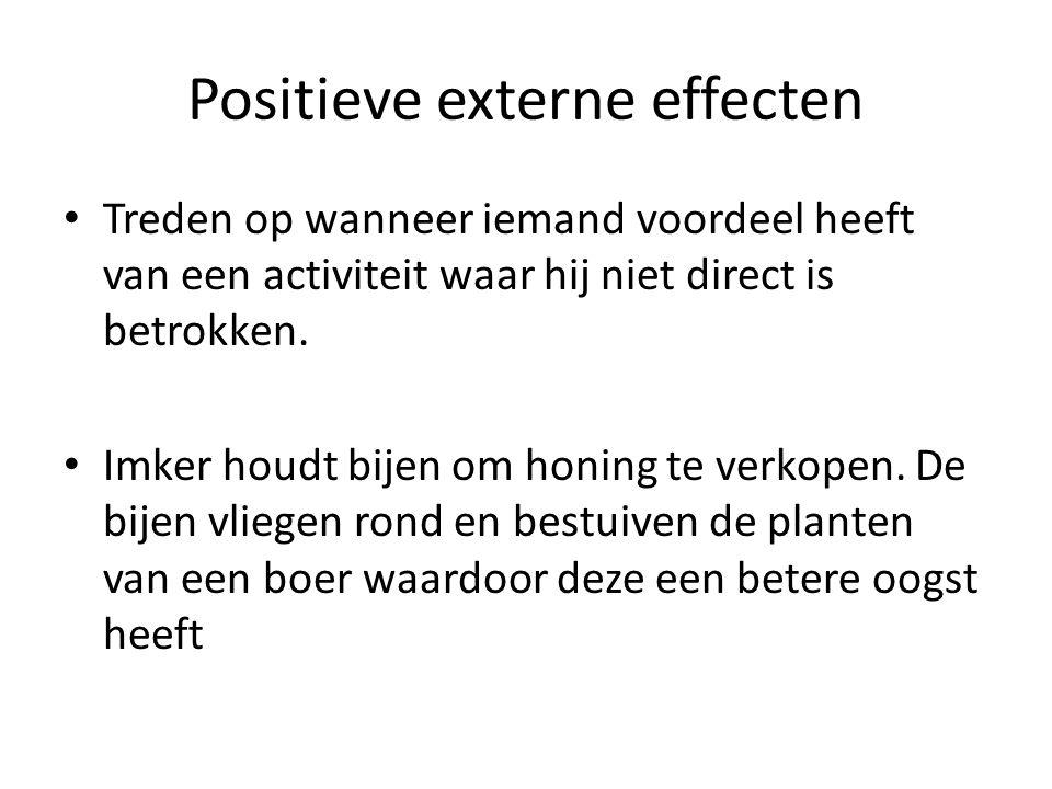 Positieve externe effecten Treden op wanneer iemand voordeel heeft van een activiteit waar hij niet direct is betrokken. Imker houdt bijen om honing t