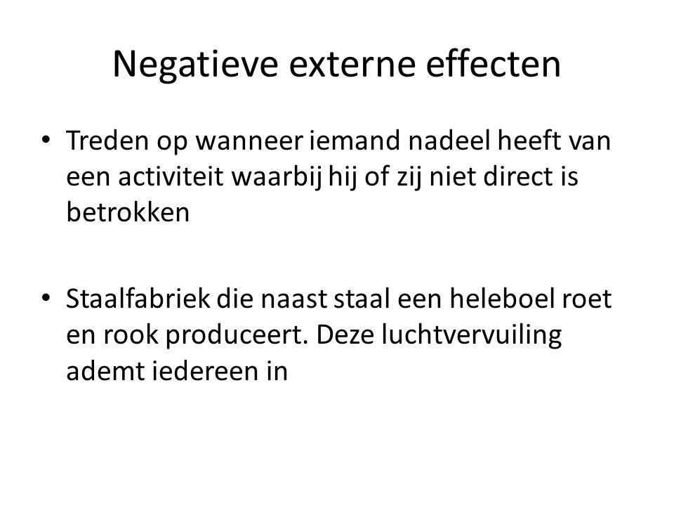 Negatieve externe effecten Treden op wanneer iemand nadeel heeft van een activiteit waarbij hij of zij niet direct is betrokken Staalfabriek die naast