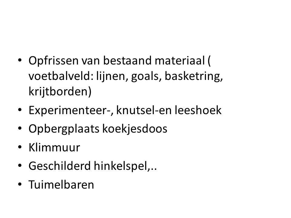 Opfrissen van bestaand materiaal ( voetbalveld: lijnen, goals, basketring, krijtborden) Experimenteer-, knutsel-en leeshoek Opbergplaats koekjesdoos K