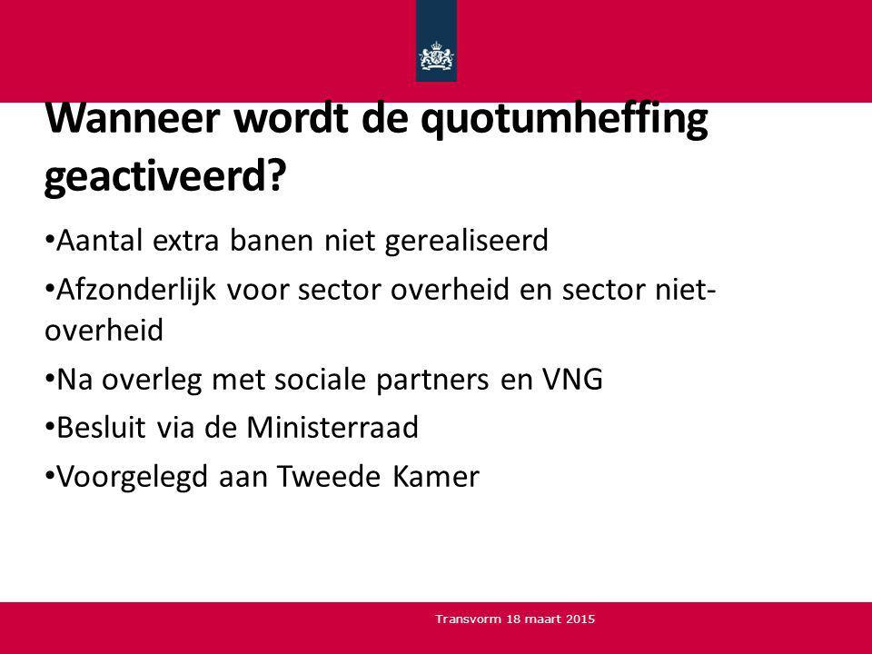 Wanneer wordt de quotumheffing geactiveerd? Aantal extra banen niet gerealiseerd Afzonderlijk voor sector overheid en sector niet- overheid Na overleg