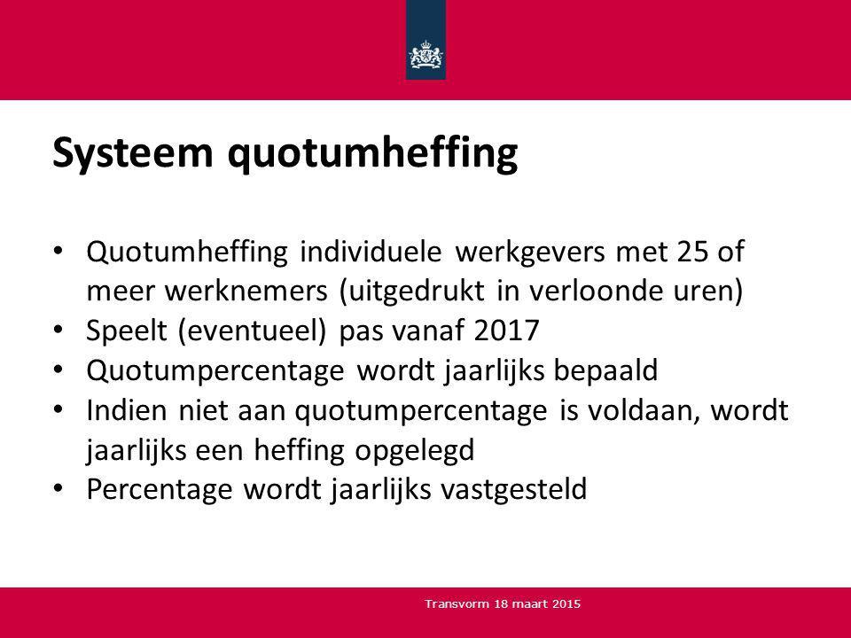 Systeem quotumheffing Quotumheffing individuele werkgevers met 25 of meer werknemers (uitgedrukt in verloonde uren) Speelt (eventueel) pas vanaf 2017