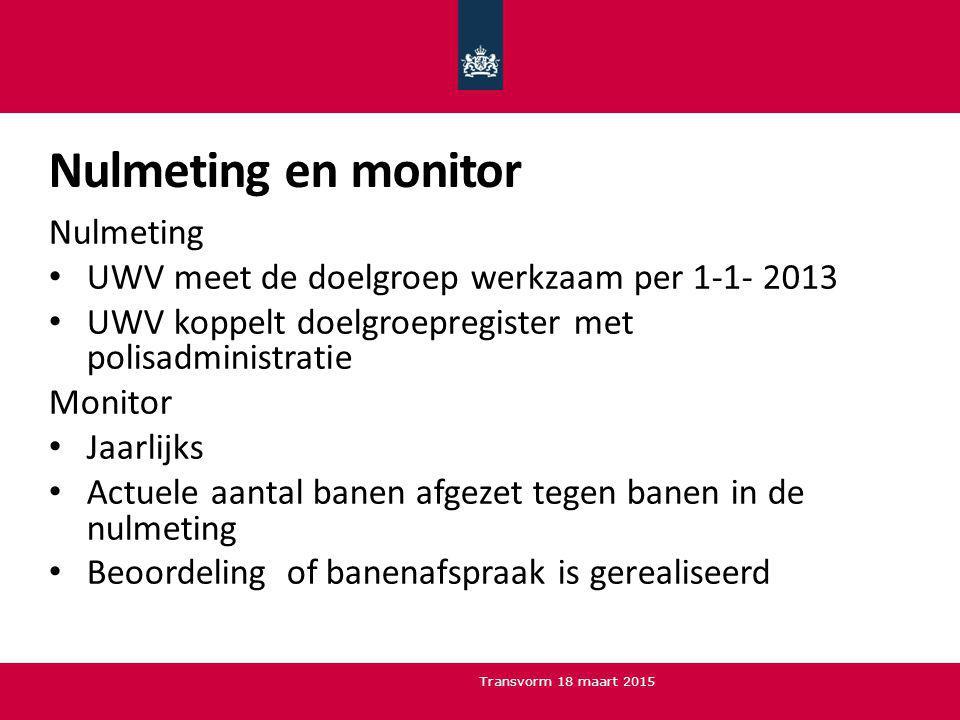 Nulmeting en monitor Nulmeting UWV meet de doelgroep werkzaam per 1-1- 2013 UWV koppelt doelgroepregister met polisadministratie Monitor Jaarlijks Act