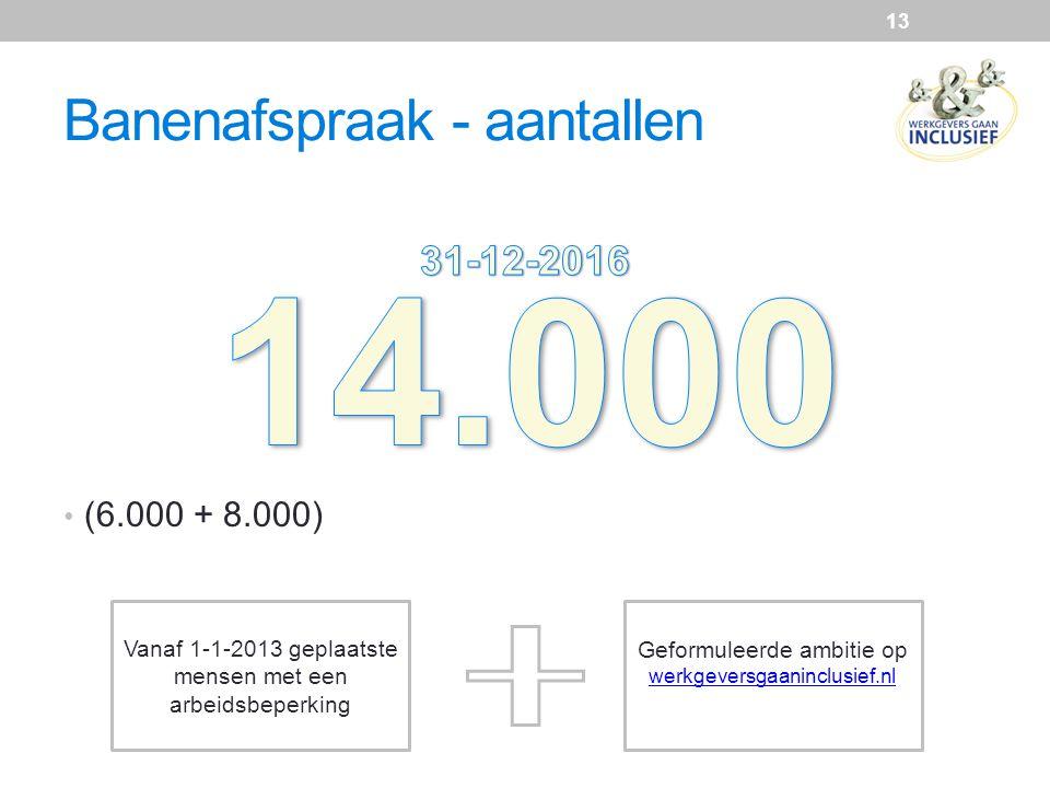 Banenafspraak - aantallen (6.000 + 8.000) 13 Vanaf 1-1-2013 geplaatste mensen met een arbeidsbeperking Geformuleerde ambitie op werkgeversgaaninclusie