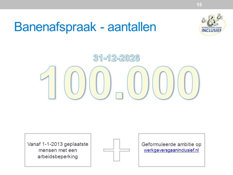 15 Vanaf 1-1-2013 geplaatste mensen met een arbeidsbeperking Geformuleerde ambitie op werkgeversgaaninclusief.nl Banenafspraak - aantallen