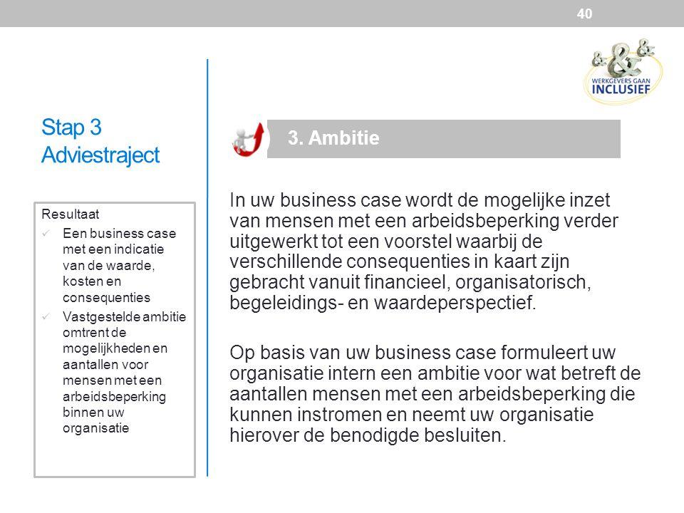 Stap 3 Adviestraject In uw business case wordt de mogelijke inzet van mensen met een arbeidsbeperking verder uitgewerkt tot een voorstel waarbij de ve