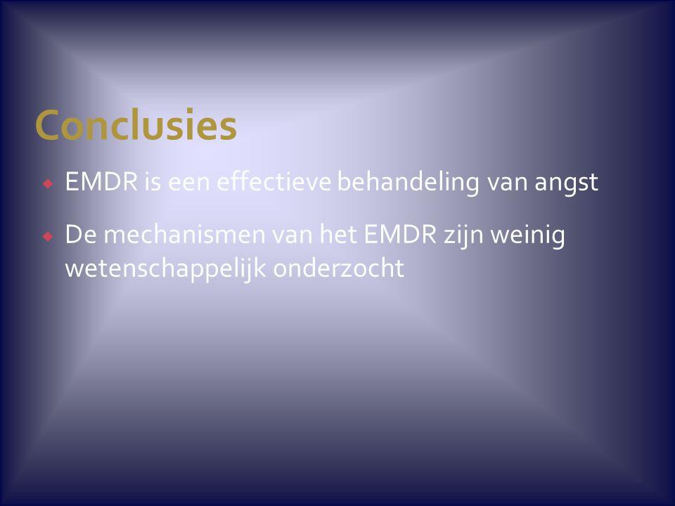 Conclusies  EMDR is een effectieve behandeling van angst  De mechanismen van het EMDR zijn weinig wetenschappelijk onderzocht
