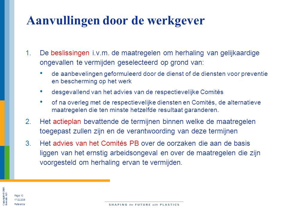 Copyright © 2005 Borealis A/S Page 10 17.02.2005 Reference Aanvullingen door de werkgever 1.De beslissingen i.v.m.