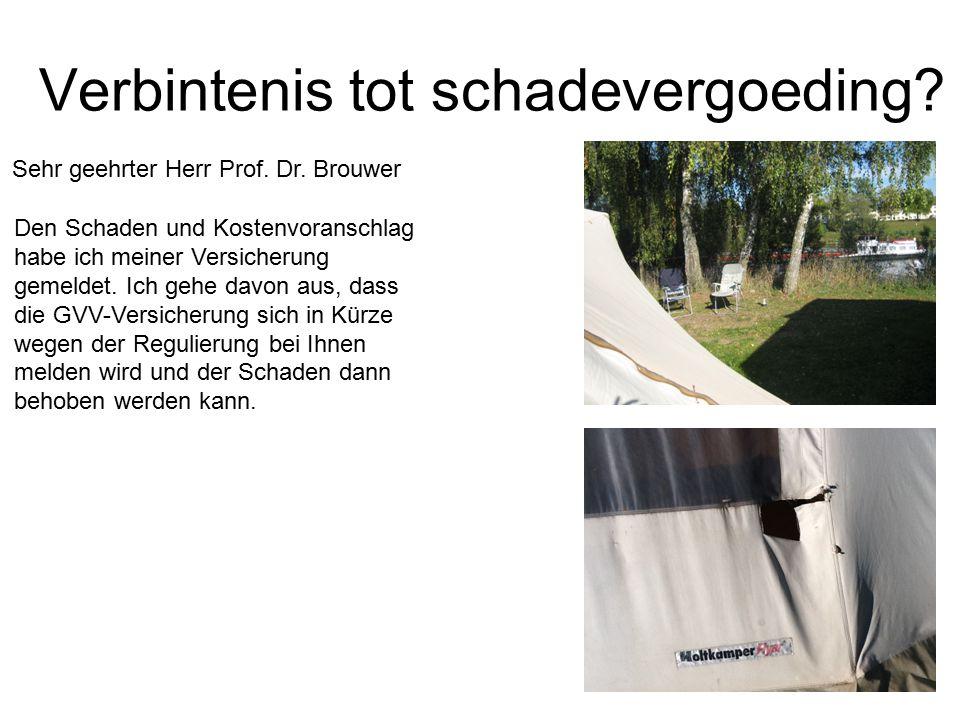Verbintenis tot schadevergoeding? Sehr geehrter Herr Prof. Dr. Brouwer Den Schaden und Kostenvoranschlag habe ich meiner Versicherung gemeldet. Ich ge