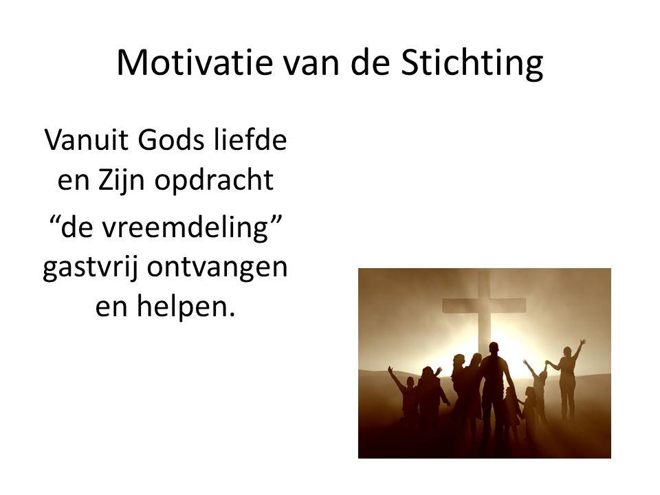 """Motivatie van de Stichting Vanuit Gods liefde en Zijn opdracht """"de vreemdeling"""" gastvrij ontvangen en helpen."""