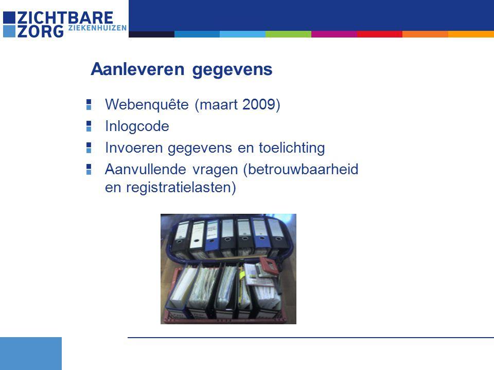 Aanleveren gegevens Webenquête (maart 2009) Inlogcode Invoeren gegevens en toelichting Aanvullende vragen (betrouwbaarheid en registratielasten)