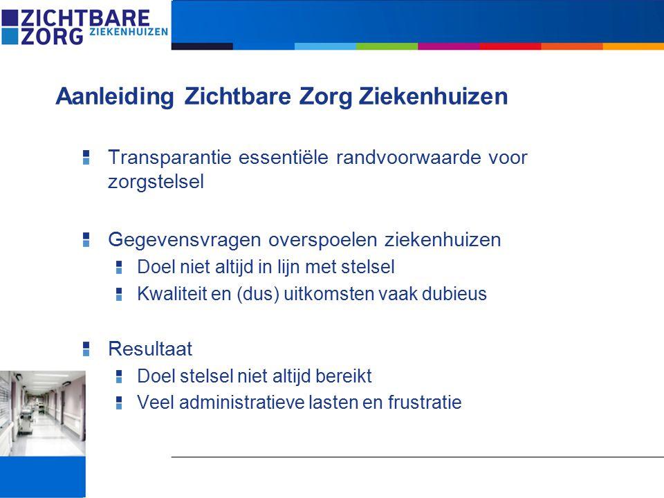 Veldpartijen tekenden in 2007 samenwerkingsafspraken NVZ Vereniging van Ziekenhuizen NFU Orde van Medisch Specialisten NPCF Consumentenbond Zorgverzekeraars Nederland IGZ V&VN