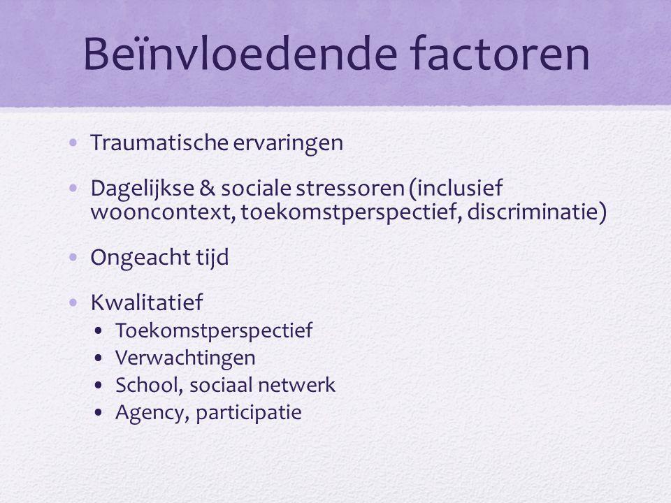 Beïnvloedende factoren Traumatische ervaringen Dagelijkse & sociale stressoren (inclusief wooncontext, toekomstperspectief, discriminatie) Ongeacht tijd Kwalitatief Toekomstperspectief Verwachtingen School, sociaal netwerk Agency, participatie