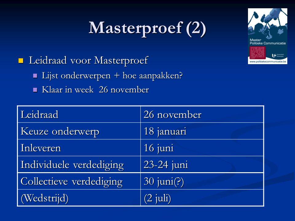 Masterproef (2) Leidraad voor Masterproef Leidraad voor Masterproef Lijst onderwerpen + hoe aanpakken.