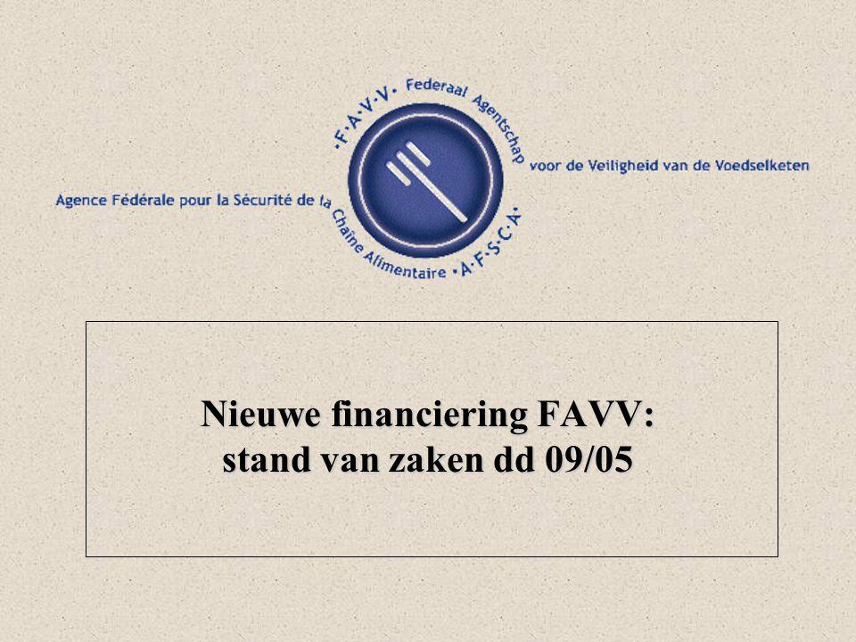 Nieuwe financiering FAVV: stand van zaken dd 09/05